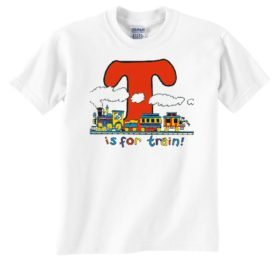 T is for Train Railroad T-Shirt Tee Shirt