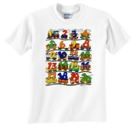Numbers Train Railroad T-Shirt Tee Shirt