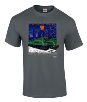 Pennsylvania RR GG1s at Night Authentic Railroad T-Shirt Tee Shirt