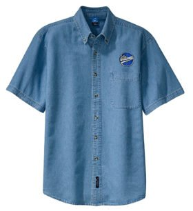 Williamette Logging Locomotives Short Sleeve Embroidered Denim [den109SS]