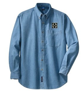 AT&SF Santa Fe Black Cross Long Sleeve Embroidered Denim [den120LS]