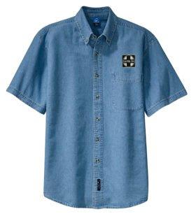 AT&SF Santa Fe Black Cross Short Sleeve Embroidered Denim [den120SS]
