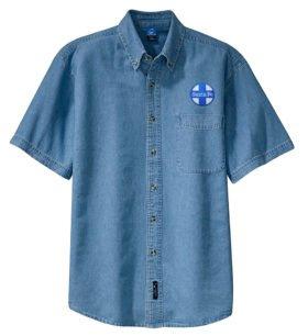AT&SF Santa Fe Blue Cross Short Sleeve Embroidered Denim [den16SS]