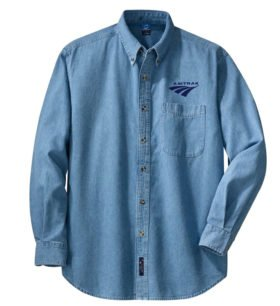 Amtrak Travelmark Long Sleeve Embroidered Denim [den252LS]