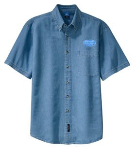 New York Central Blue Logo Short Sleeve Embroidered Denim [den29BlueSS]