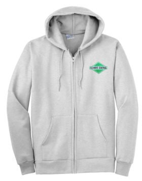 Illinois Central Green Diamond Logo Zippered Hoodie Sweatshirt [06]