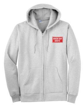 Green Bay and Western Railroad Zippered Hoodie Sweatshirt [117]