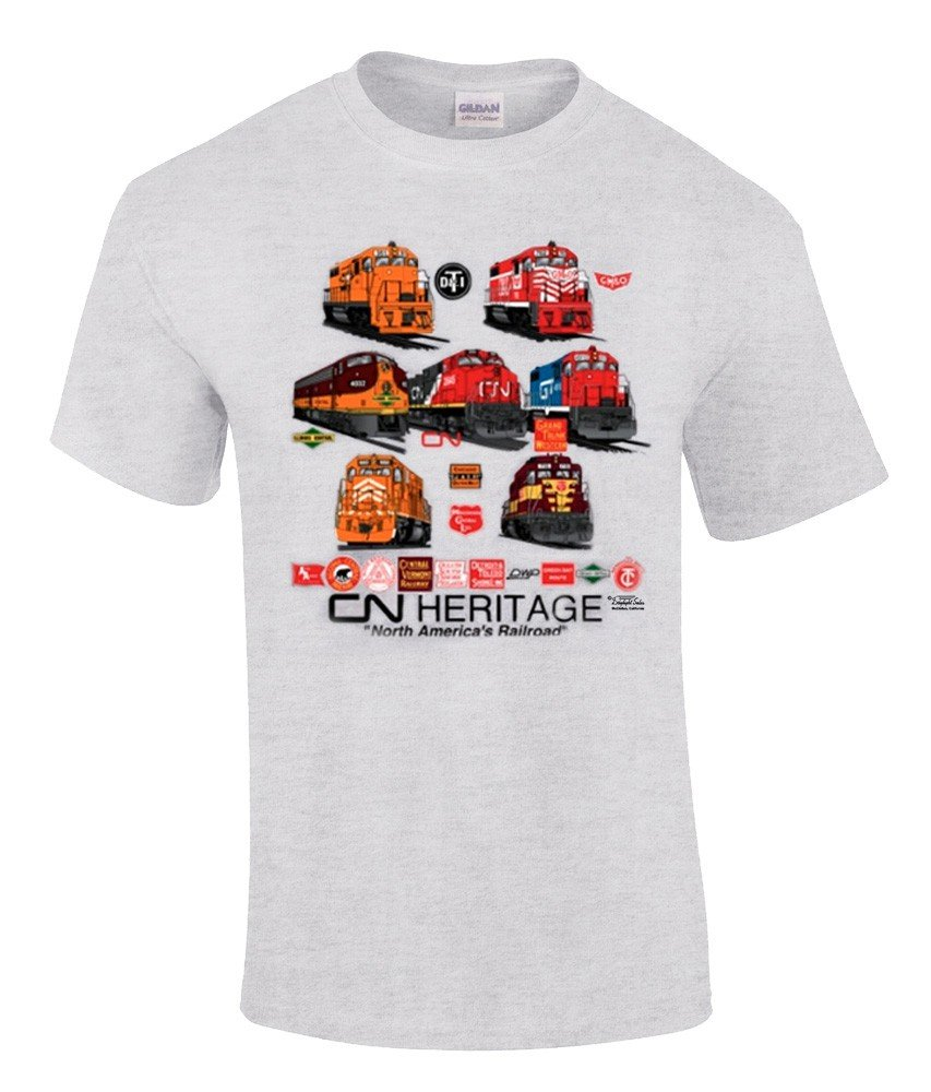 Canadian National Heritage Authentic Railroad T-Shirt Tee Shirt